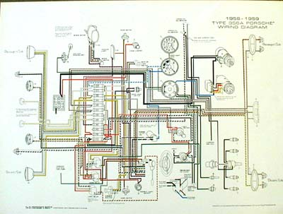 porsche 1956 1959 wiring diagram poster ynz s 356 reproduction parts rh 356 ynzyesterdaysparts com porsche 356 speedster wiring diagram 1962 porsche 356 wiring diagram